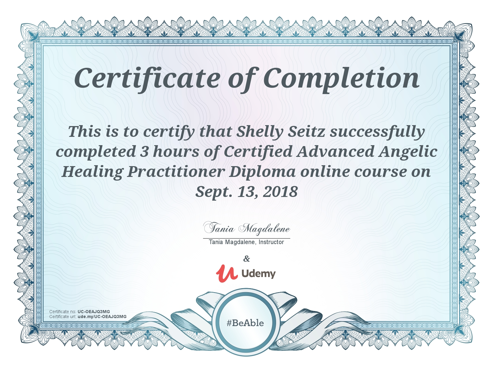 advanced angelic healing cert
